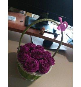 Цветы в корзинке (ручная работа)