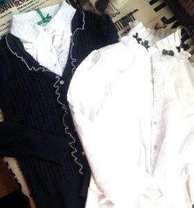 Джемпер с фальшблузкой и блузка с бантиками
