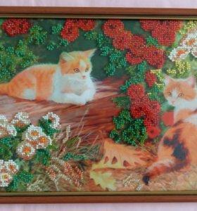 Картины частичная вышивка бисером