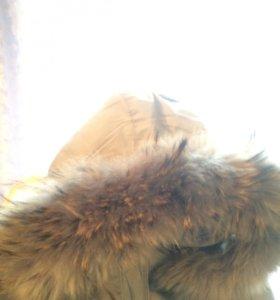 Зимний пуховик, р.42-44 натуральный мех и пух.