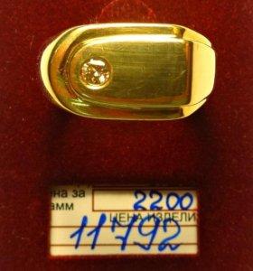 Кольцо мужское с бриллиантом, золото 585 проба