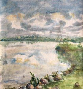 """Картина а3 """"берег озера Валдай"""""""