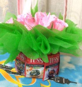 Букетик с конфетами Осенний вальс и чай💐🍬☕️