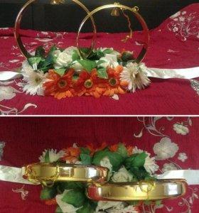 Украшения (кольца+ленты) для машин на свадьбу