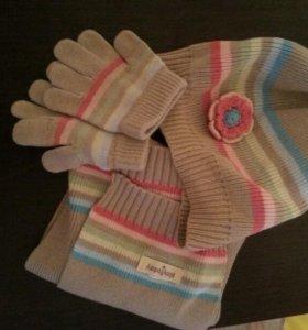 Шапка и шарф с перчатками.