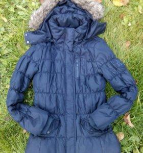 Куртка с капюшоном темно-синяя