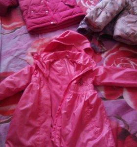 Пуховики и куртки и еще много одежды на девочку