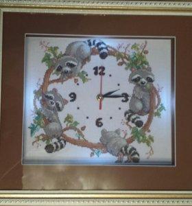 "Картина, часы""весенний бал енотов"""