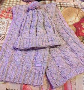 Шарфик, шапочка и перчатки комплект