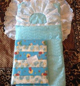 Конверты для новорожденных, пеленки, соски