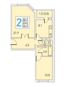 Продаю строящуюся двухкомнатную квартиру