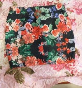 Юбка теплая в цветок