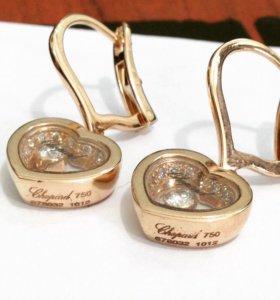 Новые шикарные золотые серьги 750 пр. с бр. 11.7гр