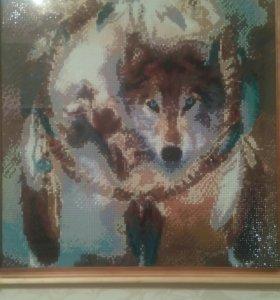 Одинокий волк.картина алмазами