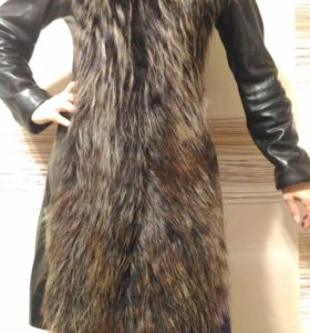 Кожаное пальто- шуба с чернобуркой
