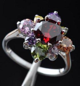 Кольцо женское с камнями рубин фианит серебро