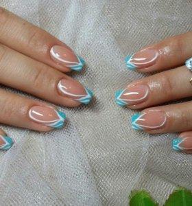 Маникюр+гель+ дизайн, наращивание ногтей