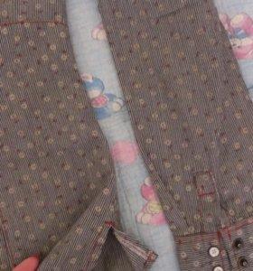 Рубашка на кнопках, в цветочный принт, р.42