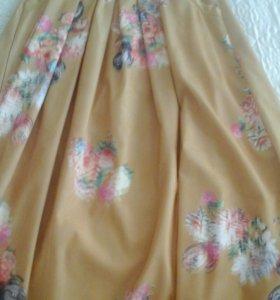 Длинная юбка двойная сверху мелкая сетка