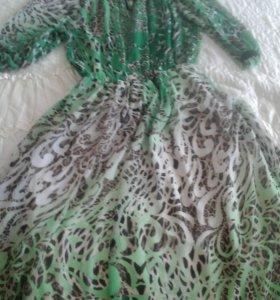 Длинное шафоновое платье с подкладой