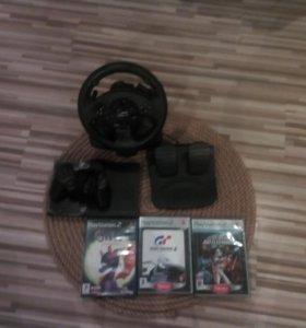 Продам PS 2 с рулем и играми