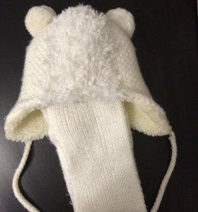 Шапка + шарф для девочки на 1 год