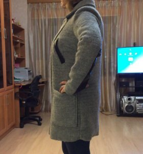Пальто драп и кожа
