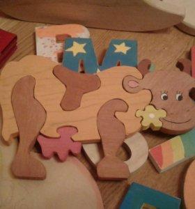 Буквы, Пазлы, игрушки из дерева различных форм и р