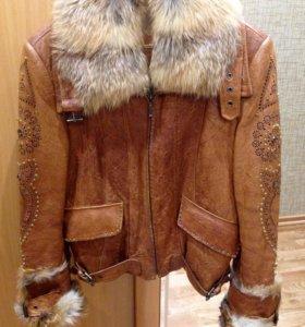 Укорочённая кожаная куртка, р-р 44