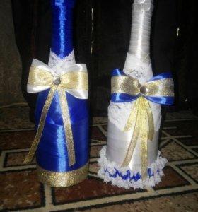 Оформление бутылок,бокалов,букетов,на свадьбу.