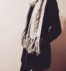 Пальто чёрное +шарф