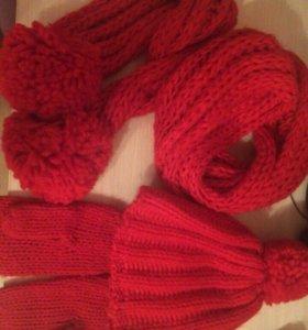 Набор шапка шарф варежки