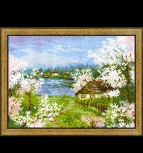 """Вышитая картина """"яблони в цвету """""""