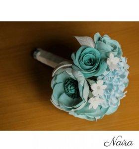 Свадебный букет невесты .Цветы ручной работы.