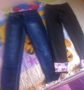 Джинсы+теплые штаны
