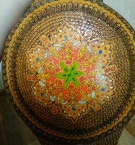 Старинная декоративная деревянная фляга