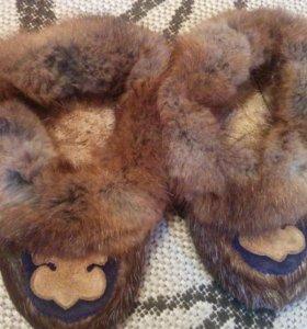Самые теплые тапочки из натурального меха 28-30