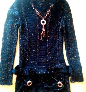 Свитер пуловер крупной вязки с золотыми нитями
