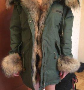 Парка куртка зимняя натуральный мех