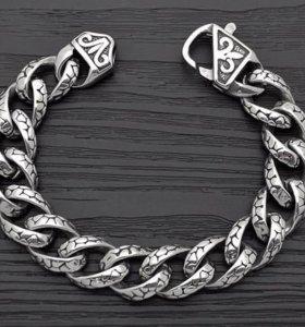Мужская стальная цепь браслет на руку Змея