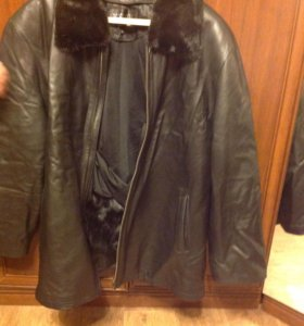 Куртка мужская зимняя натуральная кожа мех кролик