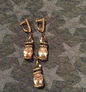 Серебряные серьги и кулон