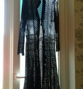 Вязанная накидка на платье