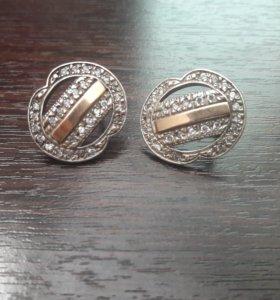 Серги(серебро+золото)