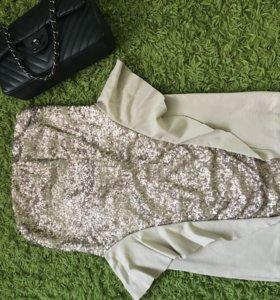 Платье с баской и пайетками imperial