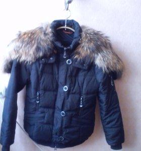 Аляска чёрная(воротник енот натуральный),зима.