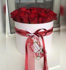 Цветы в коробках|розы в коробках