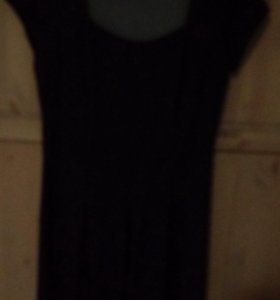 Платье из вискозы темно синее с лаковым ремешком