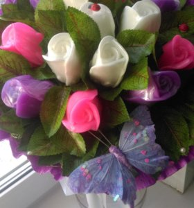 Букет роз из мыла