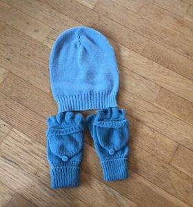 Шапка и перчатки-варежки